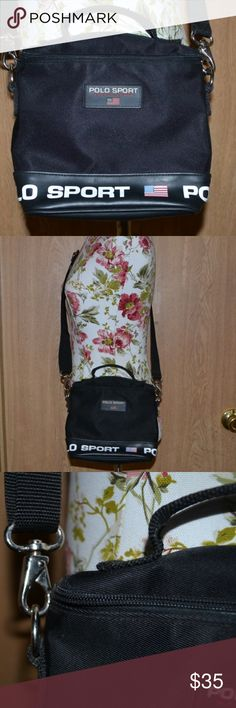 Authentic Polo sport Ralph Lauren cross body bag Smoke free home! BUNDLE & SAVE! I ship Monday - Friday! NO HOLDS OR TRADES!!! Offers are always welcomed as long as they're submitted through the OFFER BUTTON!   A small black canvas Polo sport Ralph Lauren cross body bag with White large polo sport font on the bottom & 3 small american flags. Has removable and adjustable straps. In excellent condition.   Length: 8 in  Height- 6 1/2 in  straps are about 25 in Polo by Ralph Lauren Bags…