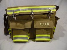 Large diaper bag made from either new materials or recycled bunker gear.