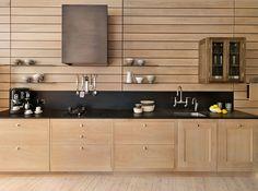 wood panelling contemporary kitchen | PaperStone worktop and backsplash || Teddy Edwards Silverstone range