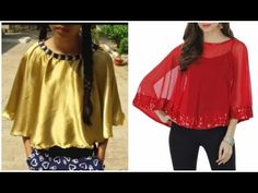 DIY Cape for dresses and saree Sewing Clothes, Diy Clothes, Clothes For Women, Salwar Designs, Blouse Designs, Diy Cape, Fashion Vocabulary, Poncho Tops, Dress Tutorials
