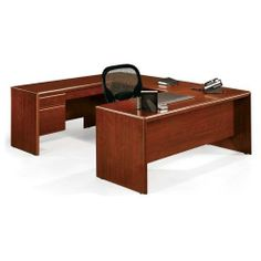 Executive U Desk by Sauder. $1169.00. Dark cherry laminate finish resists stains and scratches.. Left pedestal locks.. Full-extension hanging pedestals.. Fully reversible.. Assemble required.. Executive UDesk offers ample space for work and accessories. Add a new dimension to your office with the Cornerstone collection from Sauder.Dark cherry laminate finish resists stains and scratches. UDesk is fully reversible. Fullextension hanging pedestals with one utility dr...
