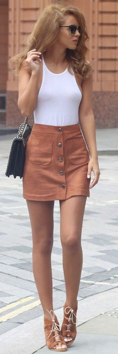 Camel Suede Button Front Skirt Fall Inspo by Nada Adellè