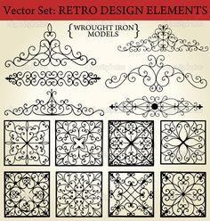 Baixar - Ferro forjado - elementos de design retrô — Ilustração de Stock #6042547