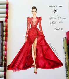 """Majestic red couture Zuhair Murad gown Haute Couture Spring Summer 2017 collection…"""""""
