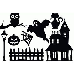 Welcome to the Silhouette Design Store, your source for craft machine cut files, fonts, SVGs, and other digital content for use with the Silhouette CAMEO® and other electronic cutting machines. Halloween Fence, Halloween Quilts, Halloween Images, Halloween Projects, Halloween House, Holidays Halloween, Spooky Halloween, Halloween Decorations, House Silhouette