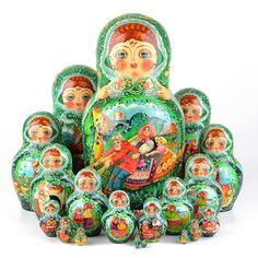 """This Great Turnip fairy-tale wooden nesting doll is imported directly from Russia. Open this nesting doll up and it reveals a set of smaller nesting dolls with portraits from the Russian fairy tale """"T Valley Of The Dolls, Matryoshka Doll, Hobby Shop, Treasure Boxes, Wooden Dolls, Collector Dolls, Antique Dolls, Art Dolls, Crafty"""