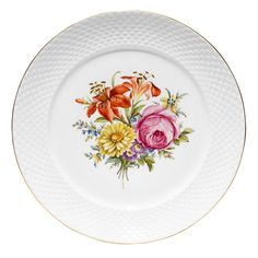 Ludwigsburger Porzellan Schuppenmuster mit Blumenmalerei. Speiseteller auch in Online-Shop der Porzellan-Manufaktur Ludwigsburg