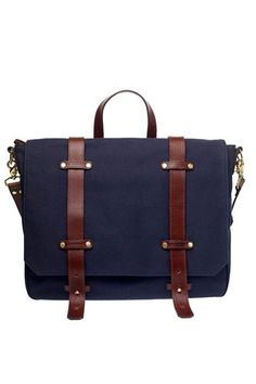 10 Anti-Murses For The Manly Men Who Gotta Carry Stuff #refinery29  http://www.refinery29.com/33982#slide7  Ernest Alexander Irving Navy Cotton Canvass Satchel, $295, available at Ernest Alexander.
