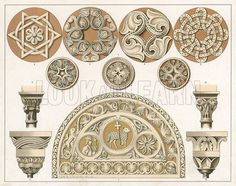 Byzantine. Illustration for a Handbook of Coloured Ornament in the Historic Styles (Batsford, c 1880).
