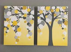 Amarillo y gris con textura árbol de dos 18 x 24