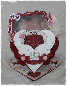 Gunns Papirpyssel, 3 dobbelt hjerte staffeli kort,  trippel heart staffeli card, wedding, bryllup, scrapbooking, scrapping, papir, paper, paperfolding, papirbretting