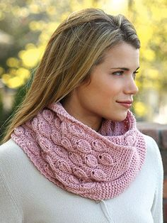 Dusty Bloom Cowl Knitting Pattern - The 2 stitch designs in this beautiful cowl, from Annie's Signature Designs, give it texture and beauty, as well as added warmth and style.