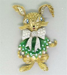 18k Gold Diamond Enamel Rabbit Brooch Pin. Available @ hamptonauction.com for the February 9, 2014 auction!