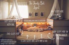 Ein Familienbett für 7 Personen: Eine Mutter aus Dallas hat aus Ikea-Betten eine Schlaflandschaft für die ganze Familie gebaut - und damit einen ...