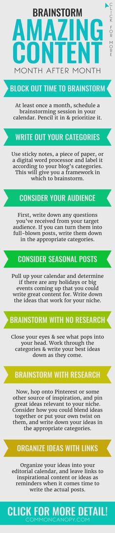 How to Brainstorm Amazing Content Month After Month Infographic | CommonCanopy.com