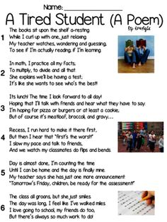 A Tired Student (Poem) Text & Question Set - FSA-Style ELA Assessment from Ms Lyric on TeachersNotebook.com -  (6 pages)  - In this file, you get an original poem text for 3rd-5th grade (I will be using it with my students in 3rd); 10 questions formed using FSA testing stems and a written performance task.