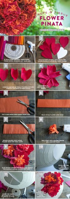 Make a Paper Flower Pinata using crepe paper and colored tissue paper. Another cool project from liagriffith.com #paperflowers #DIYpinata #DIYflowers http://liagriffith.com/make-a-paper-flower-pinata/