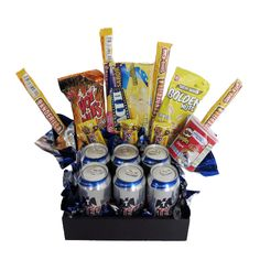 Soda Can Cakes, Cake In A Can, Gift Bouquet, Edible Arrangements, Ideas Para Fiestas, Candy Boxes, Diy Box, Cute Crafts, Boyfriend Gifts