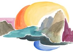 cool coast watercolor
