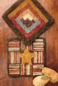 Hooked Log Cabin & Miss Star Mats Rug Hooking Pattern by Buttermilk Basin ~ Staci West