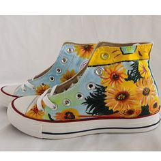 Sunflower Sneakers Custom Vincent van Gogh Painted Canvas Shoes, Hand Painted Shoes, Painting Shoes, Van Gogh Sunflowers, Unique Christmas Gifts, Vincent Van Gogh, On Shoes, Converse Chuck Taylor, High Tops