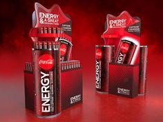 Energy Drink Set on Behance Drink Display, Display Ads, Drink Stand, Vitamins For Energy, High Energy, Coke, Energy Drinks, Coca Cola, Behance