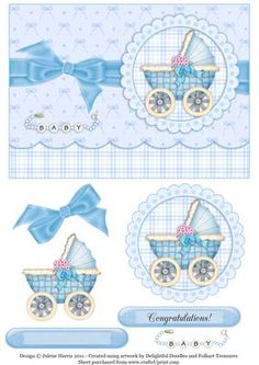 Baby Buggy in Blue Decoupage Card on Craftsuprint designed by Julene Harris - A very sweet card for the parents of a new baby boy. Please click on my name to view more of my designs. - Now available for download!