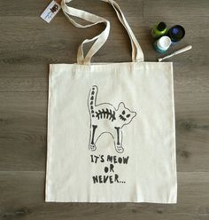 """Cat totte bag """"It's meow or never"""", handpainted bag, natural cotton, shopping bag, fashion, gift, skeleton, design Plastic Shopping Bags, Cat Bag, Stencil Painting, Market Bag, Cotton Bag, Canvas Tote Bags, Skeleton, Reusable Tote Bags, Hand Painted"""