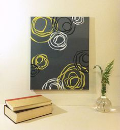 Yellow and grey abstract painting acrylic on by BluebirdBlackjack, $63.00