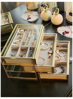 Jewelry Drawer, Glass Jewelry Box, Jewellery Storage, Jewellery Display, Jewelry Chest, Jewelry Armoire, Enamel Jewelry, Jewellery Box, Makeup Drawer Organization