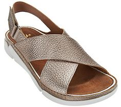 Clarks Artisan Leather Cross Strap Sandals - Tri Alexia