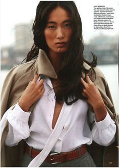 Neutral territory. Cotton linen coat, silk blouse, wool pants and leather belt from the Michael Kors Spring 2014 Collection. Allure, US, February 2014.