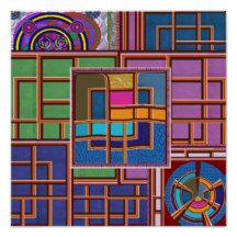 Abstract Windows Panels circles wheels by Navin Jo Poster