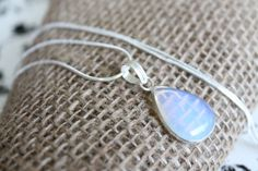 Mystical Opalite Teardrop Silver Pendant Necklace on Choice of Sterling Silver 925 Stamped Snake Chain or Waxed Leather Cord