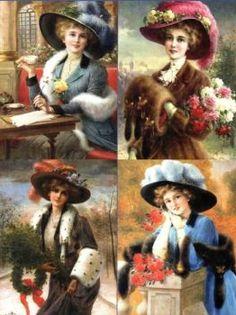 Vintage posters of Beautiful Women from a by-gone era pieces) Vintage Fur, Vintage Ephemera, Vintage Postcards, Vintage Prints, Victorian Pictures, Vintage Pictures, Victorian Women, Victorian Art, Image 3d