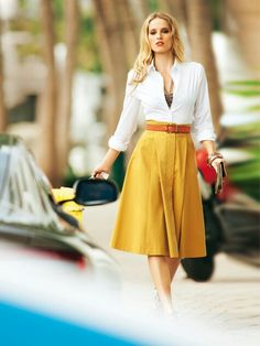 I love skirts and gold and button down shirts.
