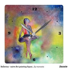 Ballerina - naive Art painting Square Wall Clock