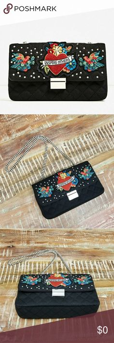 """🎉Sale🎉Zara Inspire Embroidered Black Denim Bag Quilted Black Denim  Patched & Silver Studded  Colorful Patches  Silver Hardware  PU Inner Lining  10 x 6 x 2""""  NWOT Zara Bags"""