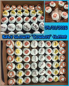 """""""Cowboy"""" theme baby shower cupcakes.  05/01/2016"""