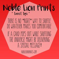 Tarot Tips from Noble Lion Prints! I get asked all the time if there is a specific way one has to shuffle to get results, my answer is NO WAY! ✨ Check out http://www.noblelionprints.com
