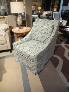 Patterned chairs. A beautiful geometric trellis pattern. By Libby Langdon for Braxton Culler. 2013 Fall High Point Furniture Market Trends by: Asia Evans Artistry for Manteo Furniture #HPMKT