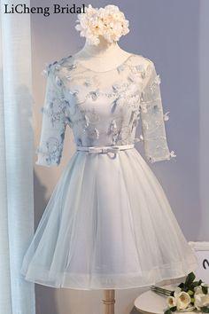 Romantic floral applique lace with bow cocktail dresses scoop sleeve A-line homecoming Dresses vestido de festa longo 2017