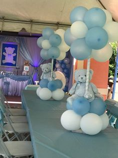 Best Ideas For Baby Boy Baptism Centerpieces Teddy Bears Girl Baby Shower Decorations, Boy Baby Shower Themes, Baby Shower Balloons, Baby Shower Gender Reveal, Baby Decor, Baby Shower Parties, Idee Baby Shower, Shower Bebe, Baby Boy Shower