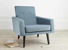 A inspired retro armchair with a textured teal blue linen mix upholstery. Extremely comfortable and totally irresistible. Retro Armchair, Blue Bedding, Retro Furniture, Teal Blue, Furnitures, Bedroom Ideas, 1950s, Accent Chairs, Upholstery