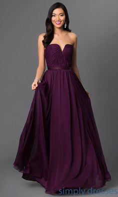 Shop SimplyDresses for full length strapless formal dresses for prom. Floor length purple evening dresses and long purple prom gowns by Mori Lee.