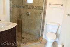 Great condo bath redo (I hate those old stand up showers with a shower curtain).