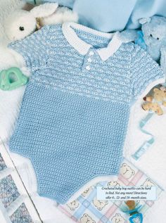 Crocheted baby boy outfits can be hard to find. This darling outfits is simple yet stylish for the newest member of your family! Size: 12 and 18 months. Made with fine (sport) weight yarn and sizes and hooks. Crochet Romper, Newborn Crochet, Crochet Clothes, Baby Outfits, Kids Outfits, Boy Crochet Patterns, Baby Patterns, Baby Boy Knitting, Baby Pullover