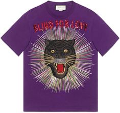 Shop the Panther with rays cotton T-shirt by Gucci. The panther, thought to be a symbol of fearlessness, is shown here with embroidered rays with sequin Blind For Love appliqué. Gucci Tee, Gucci Gucci, Love Slogan, Panther Print, Purple T Shirts, Printed Tees, Outfits For Teens, Teens Clothes, Casual Outfits