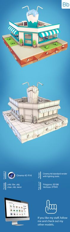 Low Poly Cocktail Cafe Building