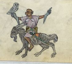 Medieval art depicts Sir Flingsalot atop his noble mount, Shadowbaah.